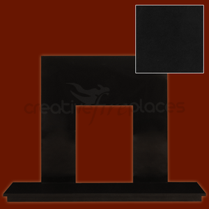 Black Granite Hearth & Back Panel Package - bespokemarblefireplaces