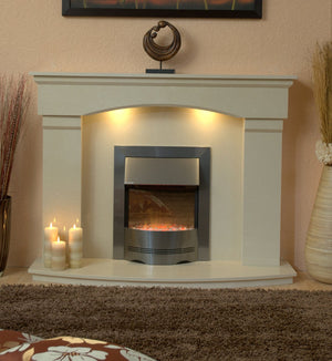 Marble Fireplace Cambridge Surround with bowed hearth and electric fire- bespokemarblefireplaces