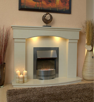 Electric Fireplace Cambridge With Silver Fire and Lights E1 Package - bespokemarblefireplaces