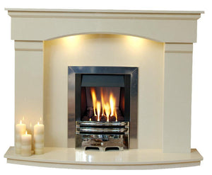 Natural Marble or Limestone Cambridge Fireplace Hearth & Back Panel - bespokemarblefireplaces