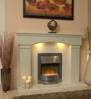 Electric Fireplace Cambridge with Silver E1 Electric Fire suite-room photo - bespokemarblefireplaces