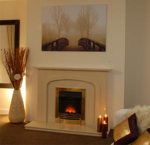 Marble Fireplace Carlton Surround with electric fire - bespokemarblefireplaces