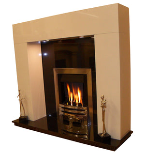 Marble Fireplace Chelmsford Surround With Lights - bespokemarblefireplaces