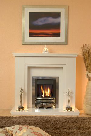 Marble Fireplace Chesterfild Surround with Gas fire fitted in lounge - bespokemarblefireplaces