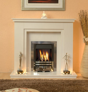 Natural Marble or Limestone Chesterfield Fireplace Hearth & Back Panel - bespokemarblefireplaces