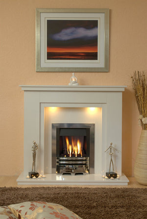 Marble Fireplace Chesterfield Surround with Gas fire and Lights fitted in lounge  - bespokemarblefireplaces