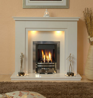 Marble Fireplace Chesterfield Surround with Gas Fire and Lights- bespokemarblefireplaces