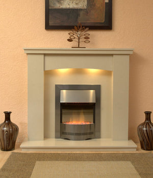 Marble Fireplace Dorchester Surround with Electric Fire fitted in Lounge - bespokemarblefireplaces