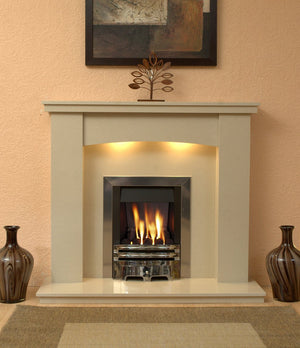 Gas Fireplace Dorchester Marble Surround with Chrome Gas G2 Package fitted in room photo - bespokemarblefireplaces