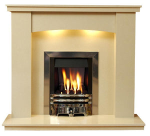 Gas Fireplace Dorchester Marble Surround with Chrome Gas G2 Fire Package - bespokemarblefireplaces
