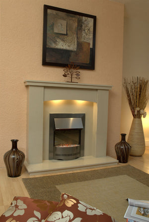 Marble Fireplace Dorchester Surround with electric fire and lights fitted in room - bespokemarblefireplaces