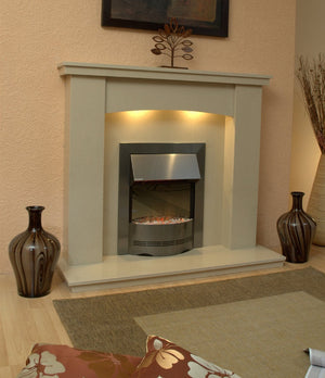 Marble Fireplace Dorchester Surround with Electric Fire and lights- bespokemarblefireplaces