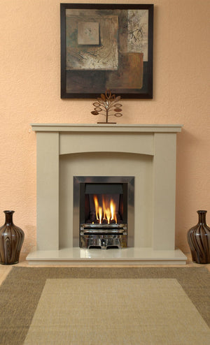 Gas Fireplace Dorchester Marble surround with Chrome  Gas  Fire G2  in room setting  - bespokemarblefireplaces