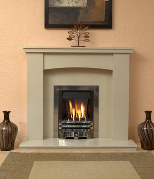 Gas Fireplace Dorchester Marble surround with  Chrome Gas Fire G2 Package  in room setting- bespokemarblefireplaces