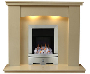 Gas Fireplace Dorchester Marble surround with brushed steel and pebbles Gas Fire G1 Package - bespokemarblefireplaces