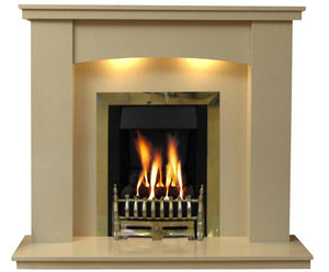 Gas Fireplace Dorchester Marble Surround with Brass Gas G3 Fire Package - bespokemarblefireplaces