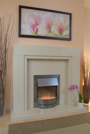 Marble Fireplace Somerset Surround with Electric Fire - bespokemarblefireplaces