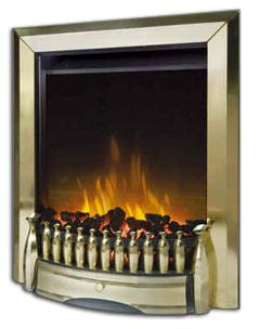 E6 Brass Electric Fire - bespokemarblefireplaces