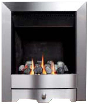 GF4 Brushed Steel Gas Fire - bespokemarblefireplaces