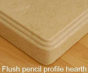 Flush Pencil profile Rectangular hearth for Cambridge Marble Fireplace - bespokemarblefireplaces
