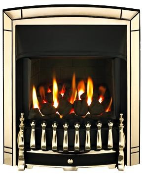 BF16 Brass Gas Fire - bespokemarblefireplaces