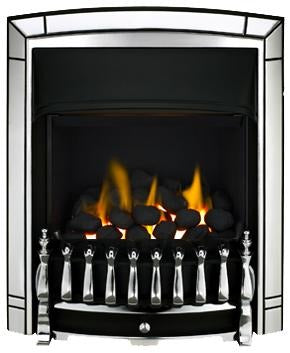 BF16 Chrome Gas Fire - bespokemarblefireplaces