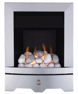 Gas Fire in Brushed Steel with Pebbles  - bespokemarblefireplaces