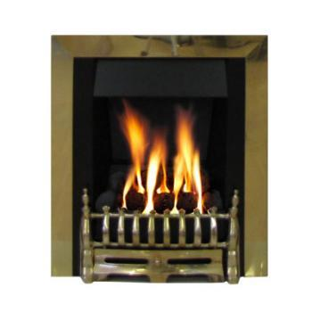 Marble Gas Fireplace Ashbourne with Brass Gas Fire G3 Package - bespokemarblefireplaces