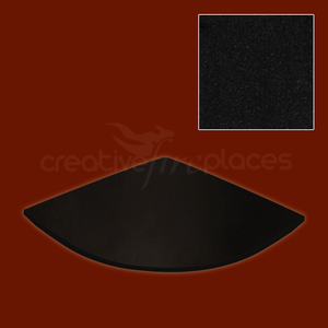 Black Granite Corner Hearth - bespokemarblefireplaces