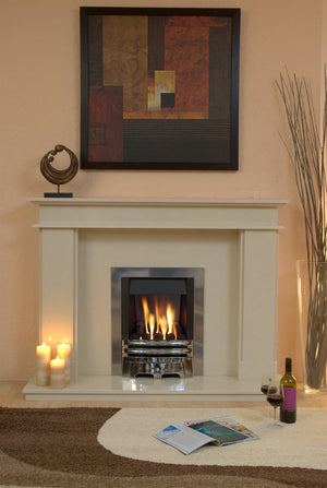 Marble Fireplace Hampton Surround with gas fire fitted in lounge - bespokemarblefireplaces