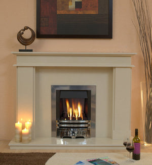 Marble Fireplace Hampton Surround with gas fire- bespokemarblefireplaces