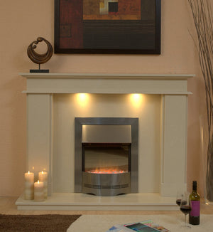 Marble Fireplace Hampton Surround with lights and Electric fire- bespokemarblefireplaces