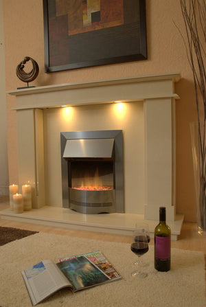 Marble Fireplace Hampton Surround with Electric fire - bespokemarblefireplaces