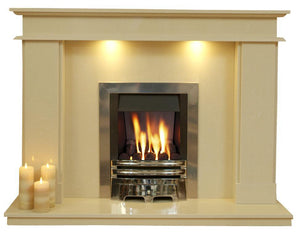 Marble Fireplace Hampton Surround with Lights  and Gas Fire - bespokemarblefireplaces