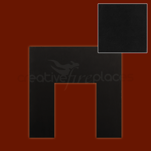 Black Granite Back Panel with cut out - bespokemarblefireplaces