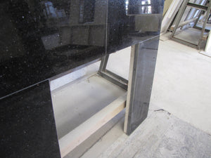 Black Granite Back Panel Solid Fuel With cut out - bespokemarblefireplaces