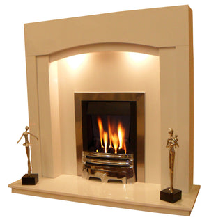 Marble Fireplace Kingston Surround with Gas Fire and Lights - bespokemarblefireplaces