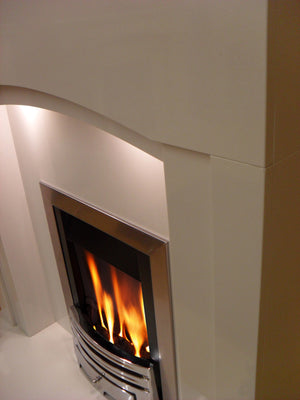 Marble Fireplace Kingston Surround close up view of Arched Header and Slips- bespokemarblefireplaces