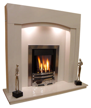 Marble Fireplace Kingston Surround with lights , side view - bespokemarblefireplaces