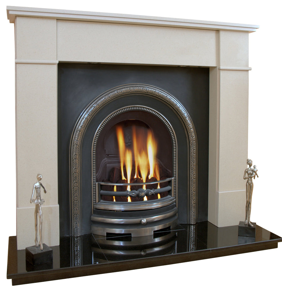 Victorian Marble Fireplace Knightsbridge Surround with Cast Iron Panel, Gas Fire and Lights- bespokemarblefireplaces