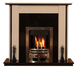Marble Fireplace Lynford Surround with Gas Fire - bespokemarblefireplaces