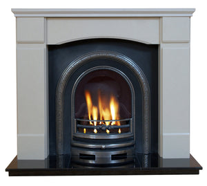 Victorian Marble Fireplace Oxford Surround With Cast Iron panel and Gas fire  - bespokemarblefireplaces