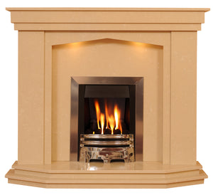 Marble Fireplace Rossendale Surround with Gas Fire and Lights- bespokemarblefireplaces