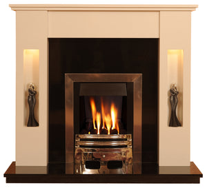 Marble Fireplace Sherwood Surround with lights - bespokemarblefireplaces
