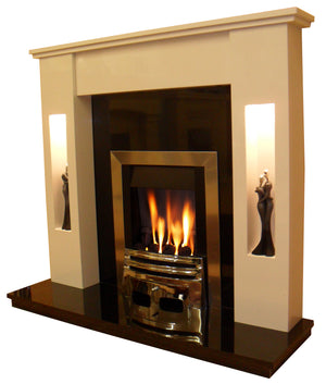 Marble Fireplace Sherwood Surround with Gas Fire and Black Hearth & Black Back Panel - bespokemarblefireplaces