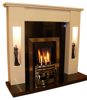 Marble Fireplace Sherwood Surround with Gas Fire- bespokemarblefireplaces