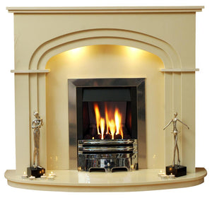 Marble Fireplace Shelbourne Surround with  Triple Arched header and curved hearth - bespokemarblefireplaces