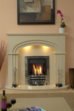 Marble Fireplace Shelbourne Fire Surround with Gas fire and Lights - bespokemarblefireplaces