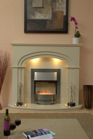 Marble Fireplace Shelbourne Surround with lights - bespokemarblefireplaces