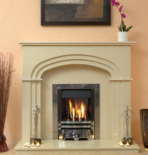 Marble Fireplace Shelbourne Surround with Gas Fire- bespokemarblefireplaces
